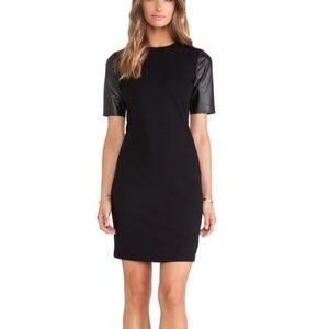 VINCE Black Leather Sleeve Stretch Sheath Dress 6